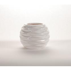 LITO - Vase rond Céramique Blanc L13 x P13 x H10.5 cm