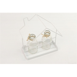 ESTATE - Maison Fer Blanc avec 2 Bouteilles Verre L18 x H19 cm