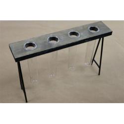 FACTORY - Table Zinc Grise avec 4 Tubes Verre L28 x H19 cm