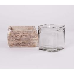 BOX - Contenant Bois Naturel L10 x H6 cm + Verre L7.5 x H7.5 cm
