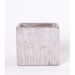 SITA - Cache-pot motif feuille Ciment Beige L11 x P11 x H10.5 cm