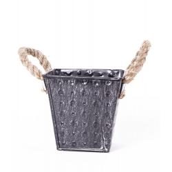 IZO - Cache-pot carré Zinc et Corde L13.5 x P13.5 x H12 cm