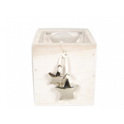 KOP - Cache-pot carré Bois Blanc + Etoiles L10 x P10 x H9.5 cm