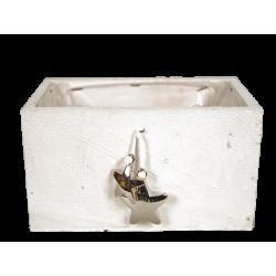 KOP - Cache-pot rectangle Bois Blanc + Etoiles L18 x P9.5 x H9 cm