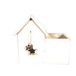 KOP - Cache-pot maison Bois Blanc + Etoiles L23.5 x P12 x H11/22 cm