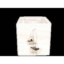 KOP - Cache-pot carré Bois Blanc + Etoiles L12.5 x P12.5 x H11.5 cm