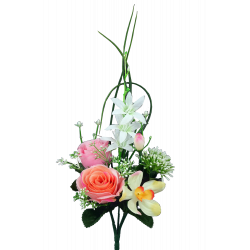 LOU - Bouquet 5 branches Rose, bouton de rose, orchidée H36 cm par 24