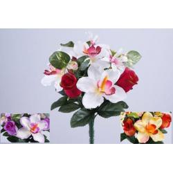 LOU - Bouquet 10 branches Rose, orchidée  H31 cm par 12