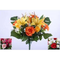 LOU - Bouquet 24 branches Lys tigré, rose H24 cm par 6