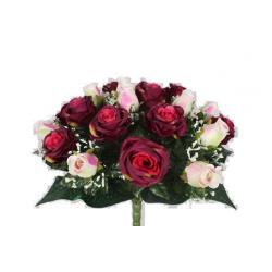 EVA - Bouquet 36 branches Rose, gypso Pourpre H44 cm par 4