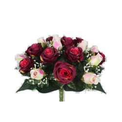 EVA - Bouquet 36 branches Rose, gypso Pourpre H44 cm par 4