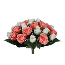 EVA - Bouquet 36 branches Rose, gypso Saumon/Crème H44 cm par 4