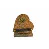 Plaque cœur Granit Ass. + socle + Inter Or L15 x H15 cm par 8