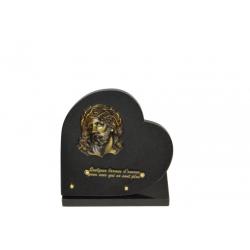 FUNERAIRE - Plaque forme coeur + socle Granit H25 x L25 cm par 4