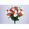 LOU - Bouquet 28 branches Rose, oeillet, gypso Rouge H37 cm