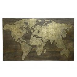 MAP - Carte du monde Laiton + Support Bois de manguier Noir et or L10