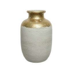 ALJA - Vase Terre cuite Or et blanc L26 x P26 x H40cm