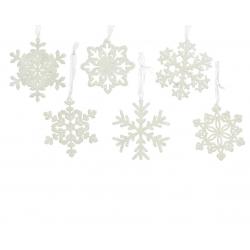 FLAKE -  Flocons de neige suspendus Plastique Blanc D10 cm Par 6