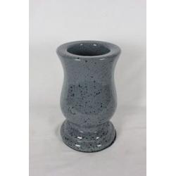 FUNERAIRE - Vase galbé Gris Porcelaine D17 x H28 cm