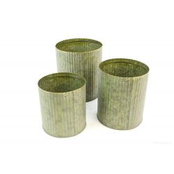 PLUMB - Cache-pot Fer strié Bronze D14/15.5/17.5 cm x H14/18/20 cm par 3