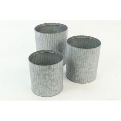 PLUMB - Cache-pot Fer strié Gris mat D14/15.5/17.5 cm x H14/18/20 cm par 3