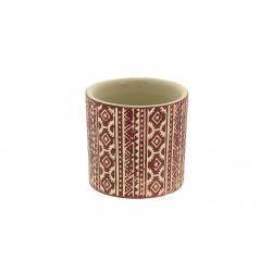 ETHNIC- Cache-pot motifs rouges L7 x P7 x H6.5 cm