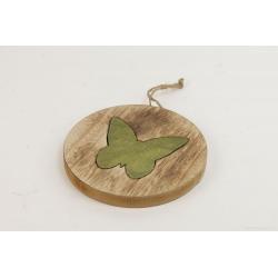 SONA - Papillon Bois Vert sur Disque à Suspendre D20 x H19 cm