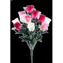 LOU - Bouquet 14 branches Rose, gypso H24 cm par 24