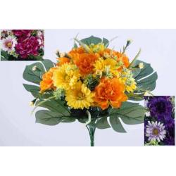 LOU - Bouquet 12 branches Zinnia, gerbera, herbe H38 cm par 6