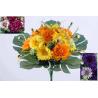 Bouquet 12 branches Zinnia, gerbera, herbe Ass. H38 cm par 6