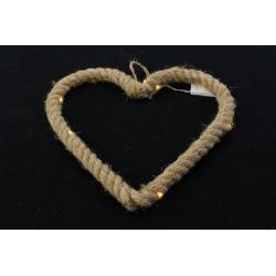 MANILIA - Coeur en corde à suspendre + Led D25 x H25 cm