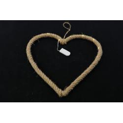 MANILIA - Coeur en corde à suspendre + Led D35 x H35 cm