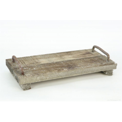 TRAY - Plateau de bois + Poignées en fer Gris L30 x P14 x H4 cm