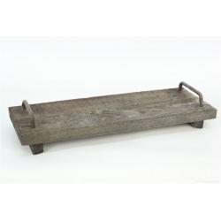 TRAY - Plateau de bois + Poignées en fer Gris L40 x P14 x H4 cm