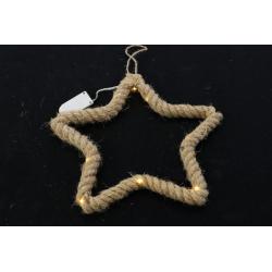 MANILIA - Etoile en corde à suspendre + Led L25 x H25 cm