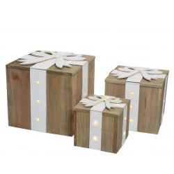 BOX - Boites cadeau avec LED Bois + Ruban Bleu Par 3
