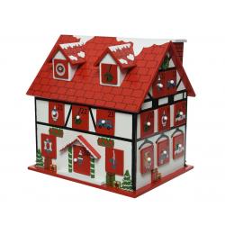 AVENT - Maison calendrier de l'avent Rouge L24x P18.5x H24cm