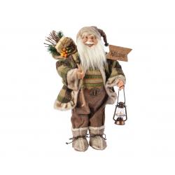 SANTA - Père Noël avec veste carreaux Marron H60 cm