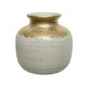 ALJA - Vase Terre cuite Or et blanc L26 x P26 xH24cm