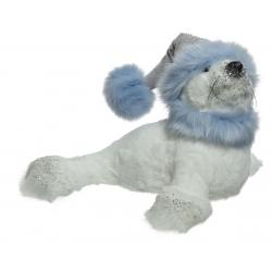 SEAL - Phoque en peluche avec bonnet Blanc et bleu L35 x P36 x H25 cm