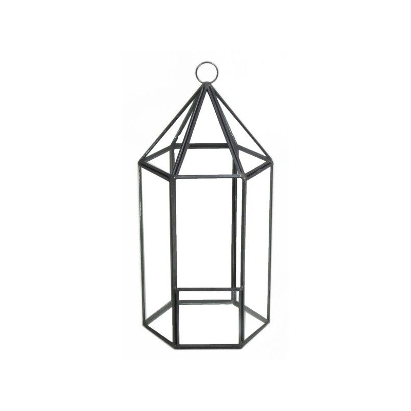 FER - Support Fer Noir Lanterne D12 x H25 cm