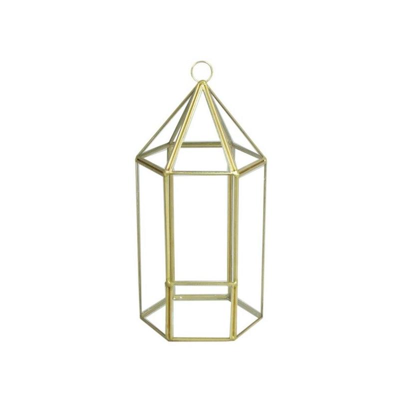 FER - Support Fer Or Lanterne D12 x H25 cm