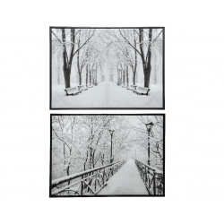 PICT - Tableau neige Blanc et noir Satiné L73 x P3,5 x H53 cm Par 2
