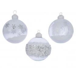 Boule Déco polystyrene Verre Blanc D8 cm par 3