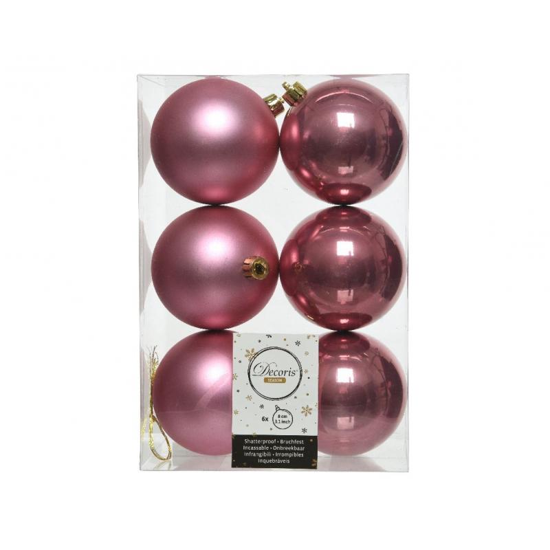 Boules Plastique Rose mat et brillant D8 cm Par 6
