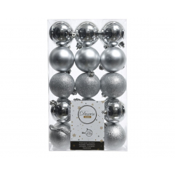 Boules Plastiques Argent brillant/mat/pailletté D6 cm par 30