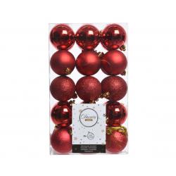 Boules Plastiques Rouge brillant/mat/pailletté D6 cm par 30