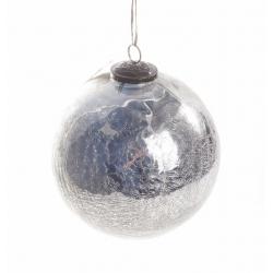 Boule Noël Craquelée Argent d 12 cm