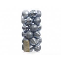 Boule 60mm Spirale scint-brillant-mat Bleu Glacial ass. par 30