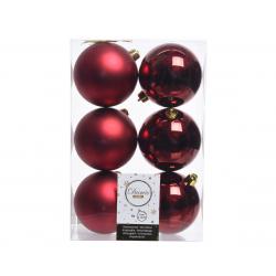 Boules Plastique Bordeaux brillant et mat D8 cm Par 6